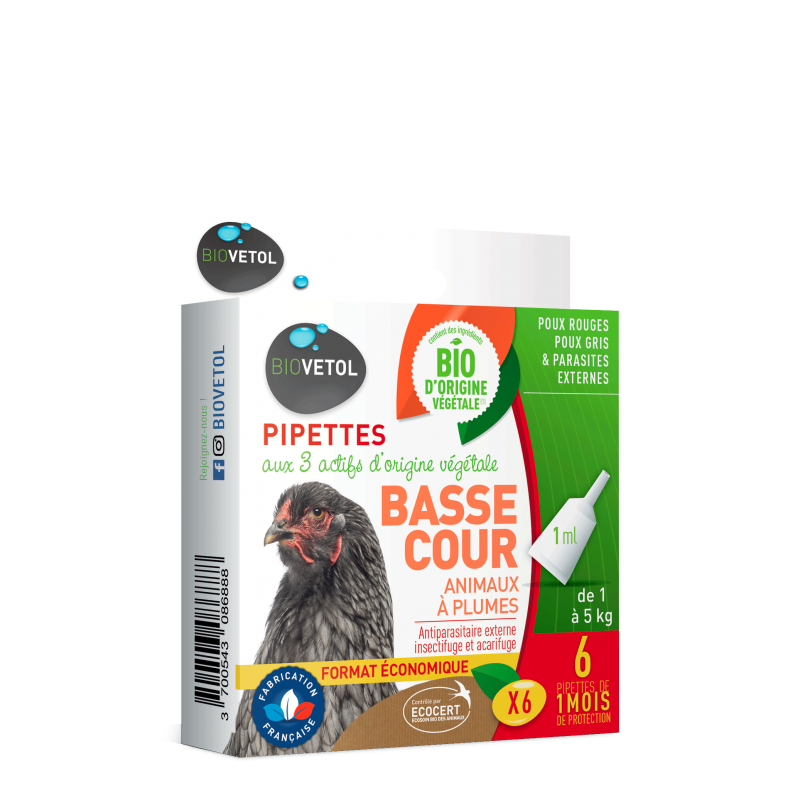 Pipettes antiparasitaires animal basse-cour 6x1ml